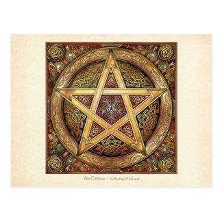 Goldene Knüpfarbeit-Pentagramm-Postkarte Postkarte