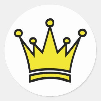goldene Kronenikone Runder Sticker