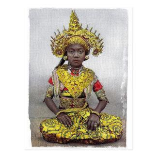 Goldene Mädchenpostkarte Postkarte