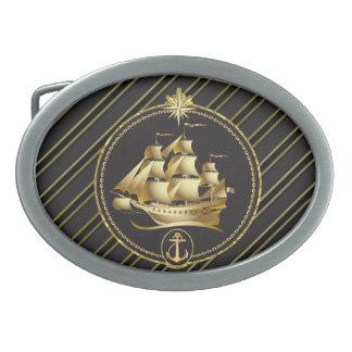 Goldene metallische Segelschiff-u. Ovale Gürtelschnalle