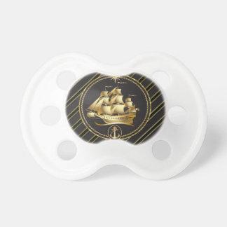 Goldene metallische Segelschiff-u. Schnuller