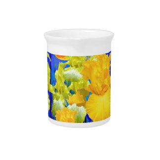 Goldene Mond-Iris-Garten-Blau-Landschaft Getränke Pitcher