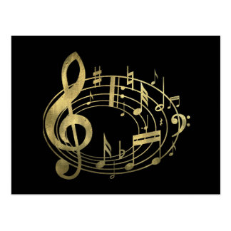 Goldene musikalische Anmerkungen in der ovalen Postkarte