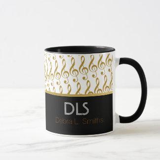 goldene musikalische Anmerkungen personalisiert Tasse