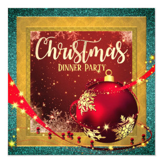 Goldene Rahmen-Weihnachtsabendessen-Einladung Karte