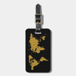 goldene Reiseweltkarte personalisiert Kofferanhänger