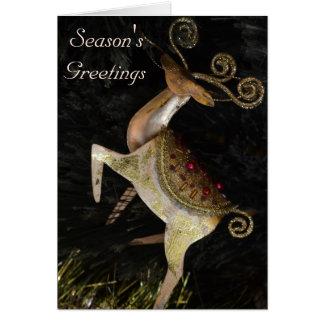 Goldene Ren-Weihnachtskarte Karte
