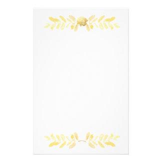 Goldene Rose und Blätter Briefpapier