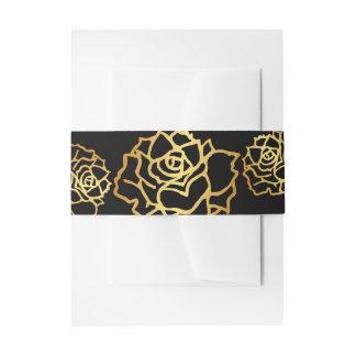 Goldene Rosen-Bauch-Bänder - Schwarzes Einladungsbanderole