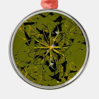 Goldene Rosen-Blumenblatt-abstrakte Flecken Silbernes Ornament