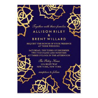 Golden Roses Wedding Invitation - Blue