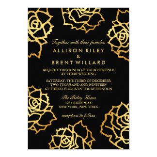 Goldene Rosen, die Einladung - Schwarzes Wedding