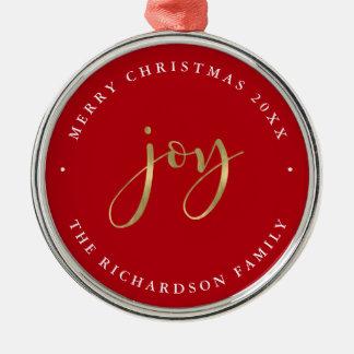 Goldene rote frohe Weihnachten der Freude-| Rundes Silberfarbenes Ornament