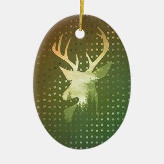 Goldene Rotwild-abstrakter Keramik Ornament