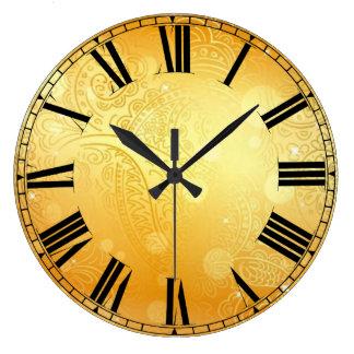 Goldene runde (große) Wanduhr Paisleys