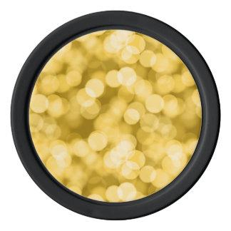 Goldene Schein Bokeh Punkte Poker Chips