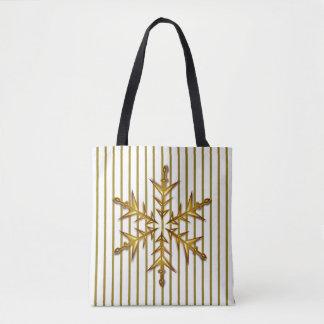 Goldene Schneeflocke-WeihnachtsTaschen-Tasche Tasche