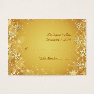 Goldene Schneeflocken, die Platzkarten Wedding Visitenkarte