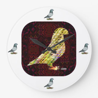 Goldene Show-Rennläufer-Taube Große Wanduhr