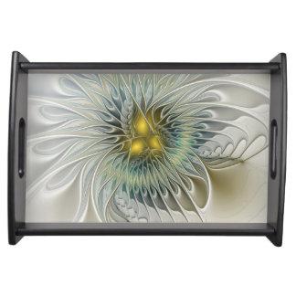 Goldene silberne Blumen-Fantasie-abstrakte Tablett