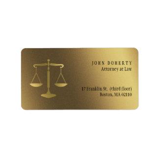 Goldene Skalen Rechtsanwaltsbüro-der Geschenke der Adressaufkleber