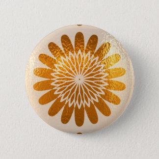 Goldene Sonnenblume KUNST-Dekoration Runder Button 5,1 Cm