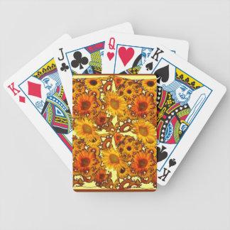 Goldene Sonnenblume-Kunst-Geschenke Browns Bicycle Spielkarten
