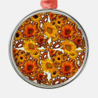Goldene Sonnenblume-Kunst-Geschenke Browns Silbernes Ornament