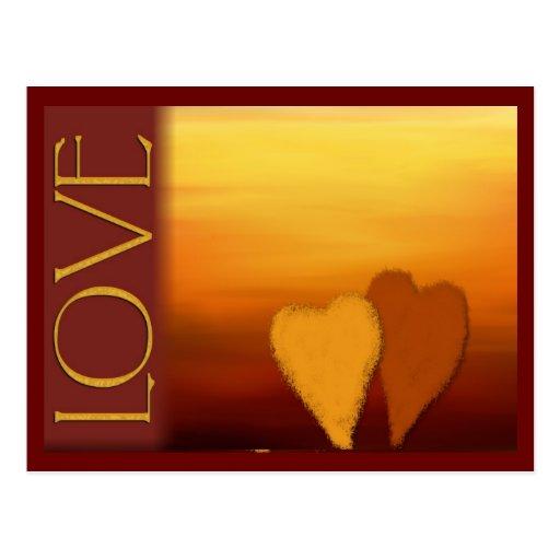 Goldene Sonnenuntergang-Liebekarte Postkarte