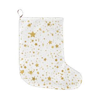 Goldene Stars2 - Reines Weißes Großer Weihnachtsstrumpf