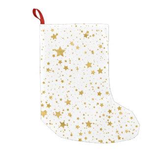 Goldene Stars2 - Reines Weißes Kleiner Weihnachtsstrumpf