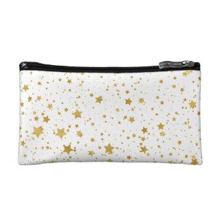 Goldene Stars2 - Reines Weißes Makeup-Tasche