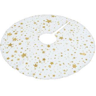 Goldene Stars2 - Reines Weißes Polyester Weihnachtsbaumdecke