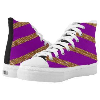 Goldene Streifen auf lila Hintergrund Hoch-geschnittene Sneaker