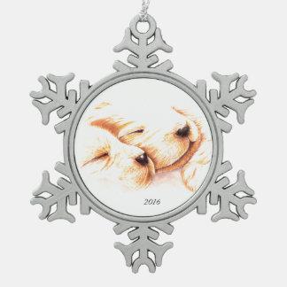 Goldene Träume Schneeflocken Zinn-Ornament