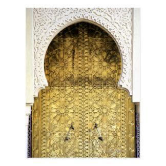 Goldene Tür und eine Bogen-Weise, Marokko Postkarte