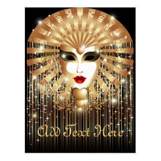 Goldene Venedig-Karnevals-Party-Maske Postkarte