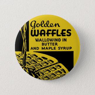 Goldene Waffeln, die in der Butter sich wälzen Runder Button 5,1 Cm