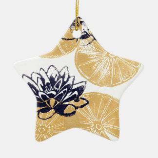 Goldene Wasserlilien Keramik Ornament