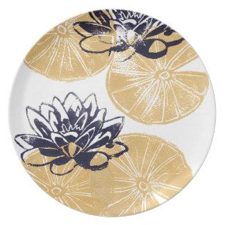 Goldene Wasserlilien Melaminteller
