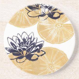 Goldene Wasserlilien Sandstein Untersetzer