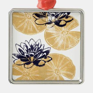 Goldene Wasserlilien Silbernes Ornament