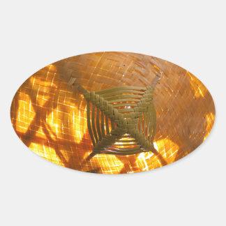 Goldene Webart Ovaler Aufkleber