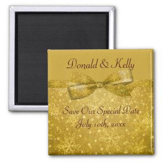 Goldene Wedding Glitz-u. Schimmer-Schneeflocken Quadratischer Magnet