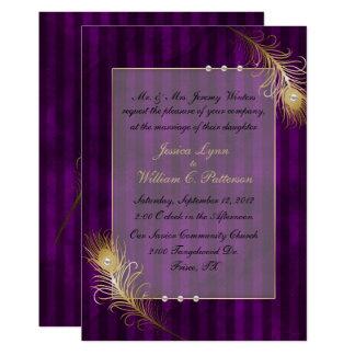 Goldene Wedding Pfau-Federn u. Perlen Karte