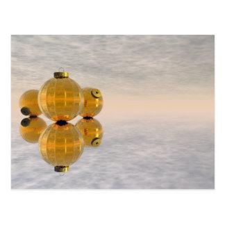 Goldene Weihnachtsbälle - 3D übertragen Postkarte