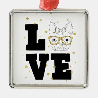 Goldene Welpen-Liebe Silbernes Ornament
