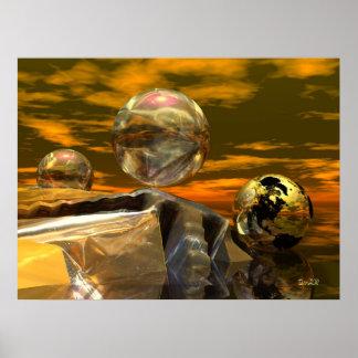 Goldene Welten des surrealistischen Sciencefiction Poster
