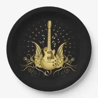 Goldene Winged Gitarre Pappteller