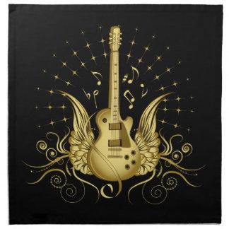 Goldene Winged Gitarre Stoffserviette